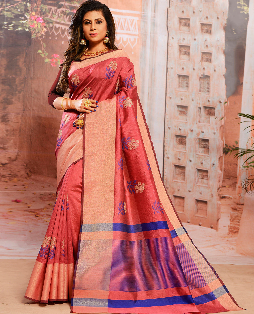 Pink Color Cotton Silk Elegant Function Wear Sarees NYF-7361