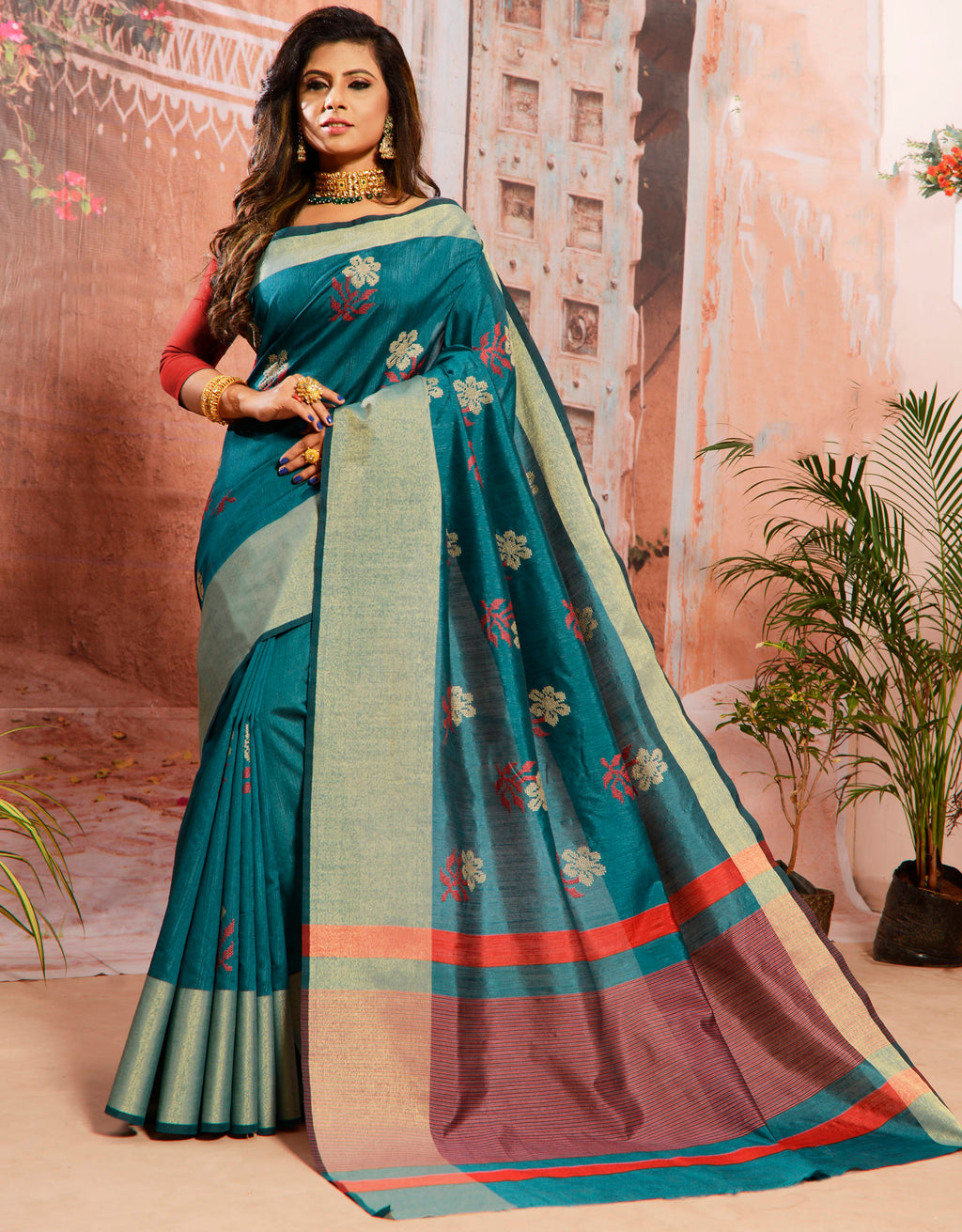 Rama Blue Color Cotton Silk Elegant Function Wear Sarees NYF-7362