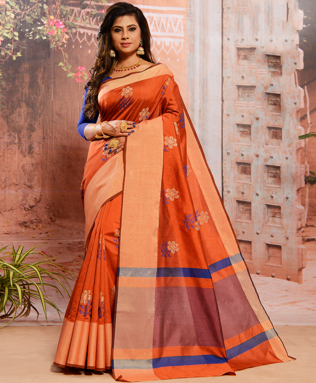 Orange Color Cotton Silk Elegant Function Wear Sarees NYF-7363
