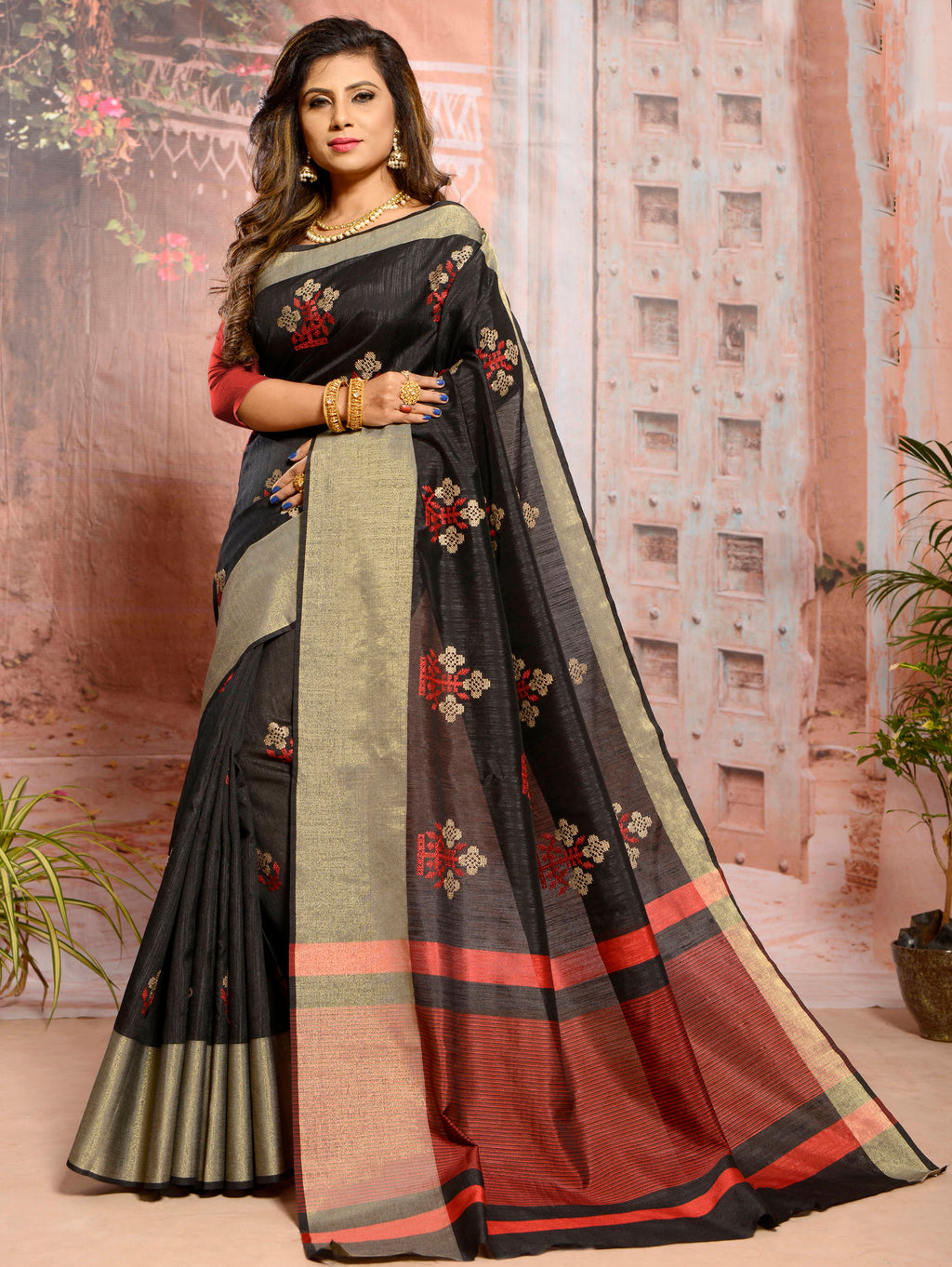Black Color Cotton Elegant Function Wear Sarees NYF-7364