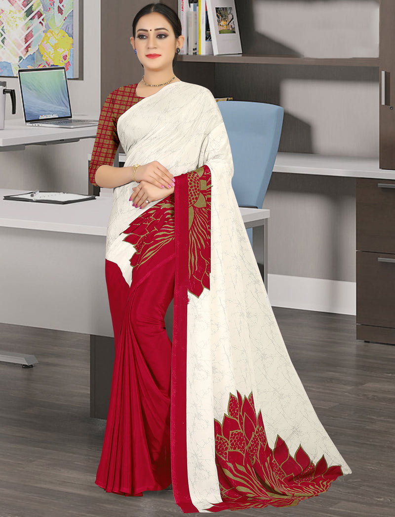 White & Red Color Crepe Light Weight Home Wear Sarees NYF-7332