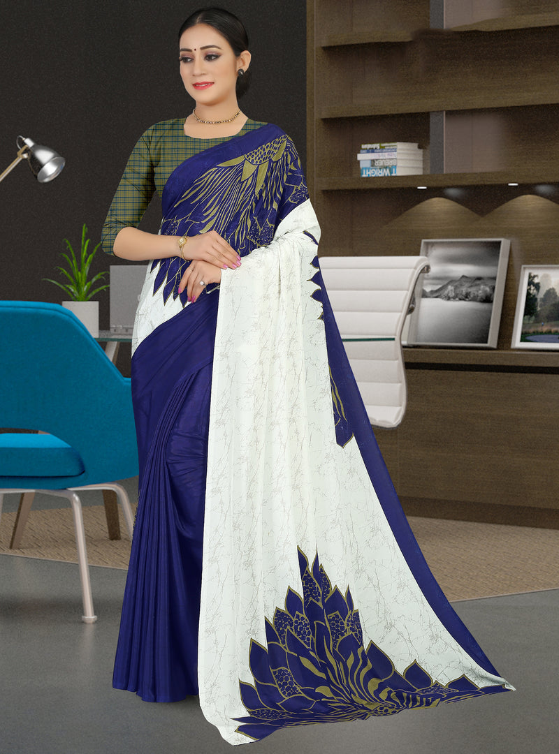 White & Blue Color Crepe Light Weight Home Wear Sarees NYF-7333