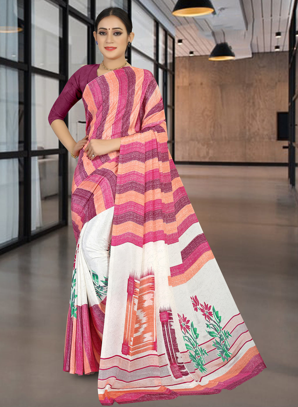 Pink Color Crepe Light Weight Home Wear Sarees NYF-7334