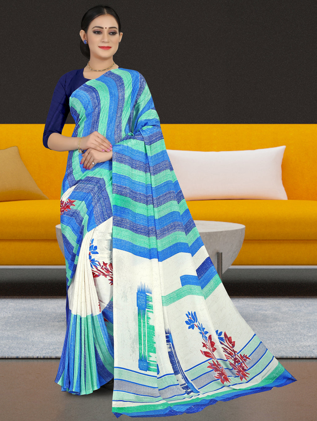 Blue Color Crepe Light Weight Home Wear Sarees NYF-7335
