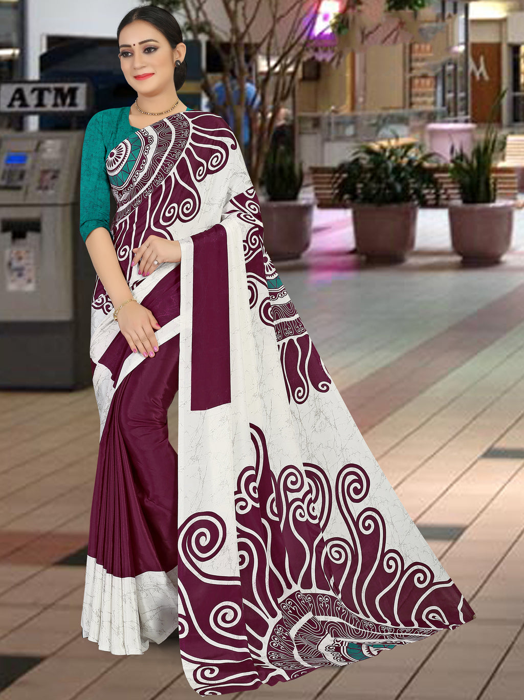 White & Wine Color Crepe Light Weight Home Wear Sarees NYF-7336