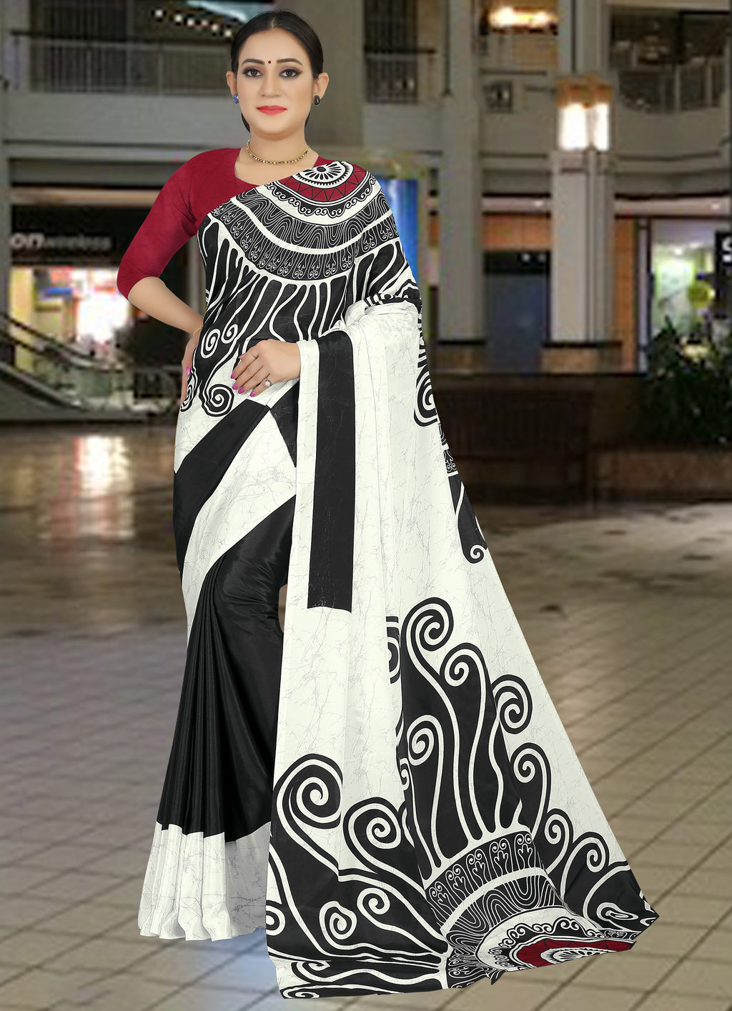 White & Black Color Crepe Light Weight Home Wear Sarees NYF-7337