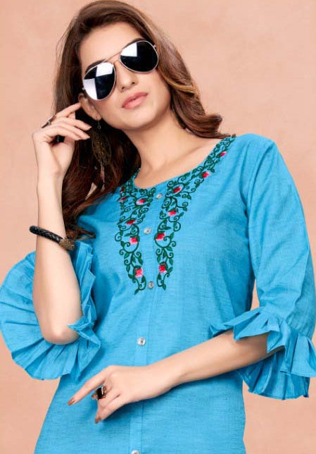 Sky Blue Color Cotton Casual Wear Kurtis NYF-7056