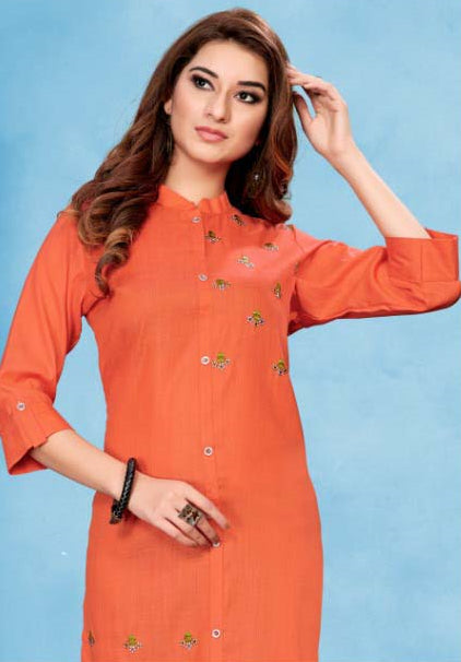 Orange Color Cotton Casual Wear Kurtis NYF-7060