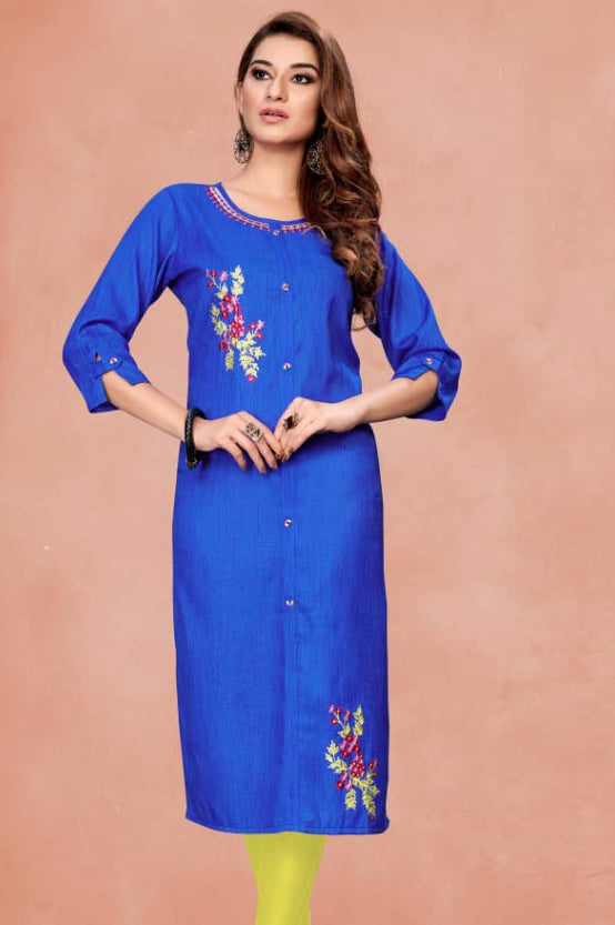 Royal Blue Color Cotton Casual Wear Kurtis NYF-7064