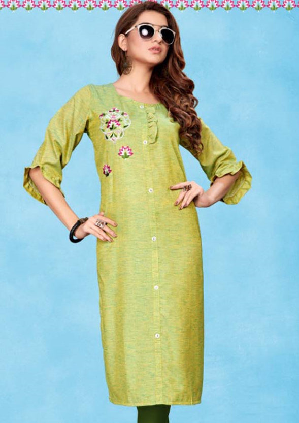 Green Color Cotton Casual Wear Kurtis NYF-7068