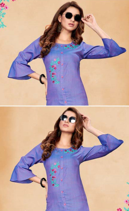 Purple Color Cotton Casual Wear Kurtis NYF-7072