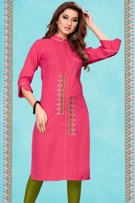 Pink Color Cotton Casual Wear Kurtis NYF-7076