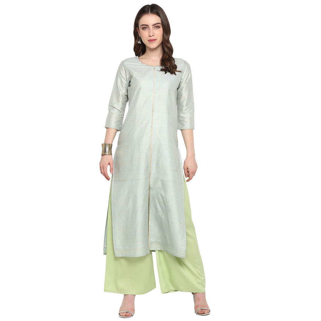 Pastel Blue Color Poly Silk Party Wear Kurti With Bottom NYF-6906