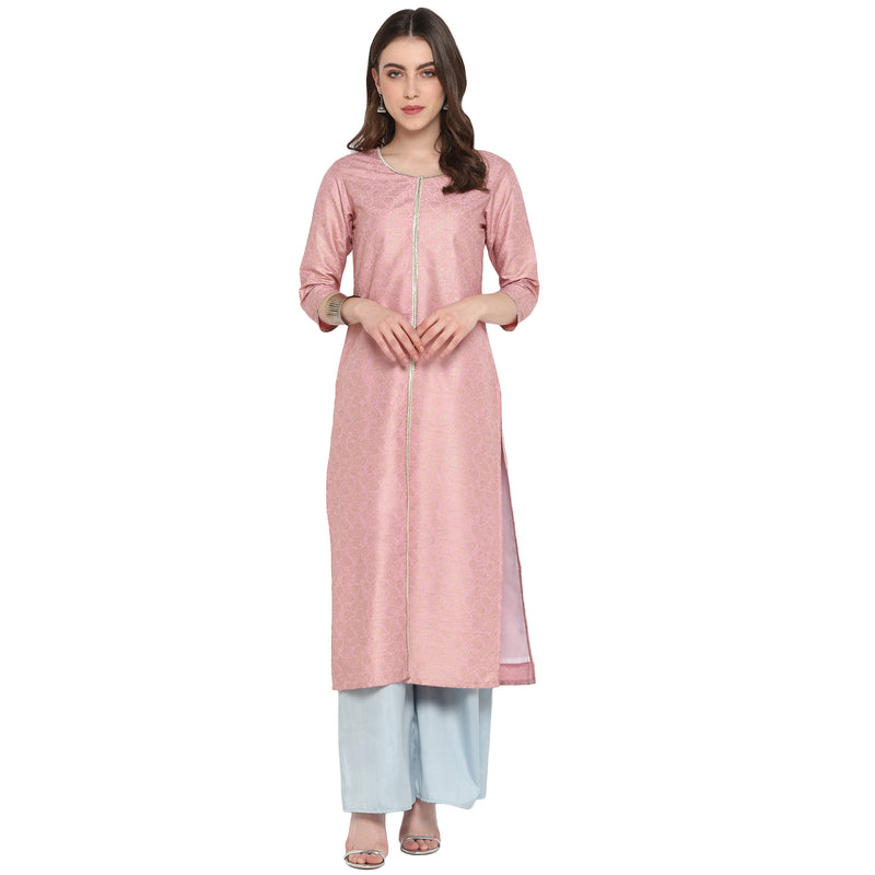 Pink Color Poly Silk Party Wear Kurti With Bottom NYF-6916