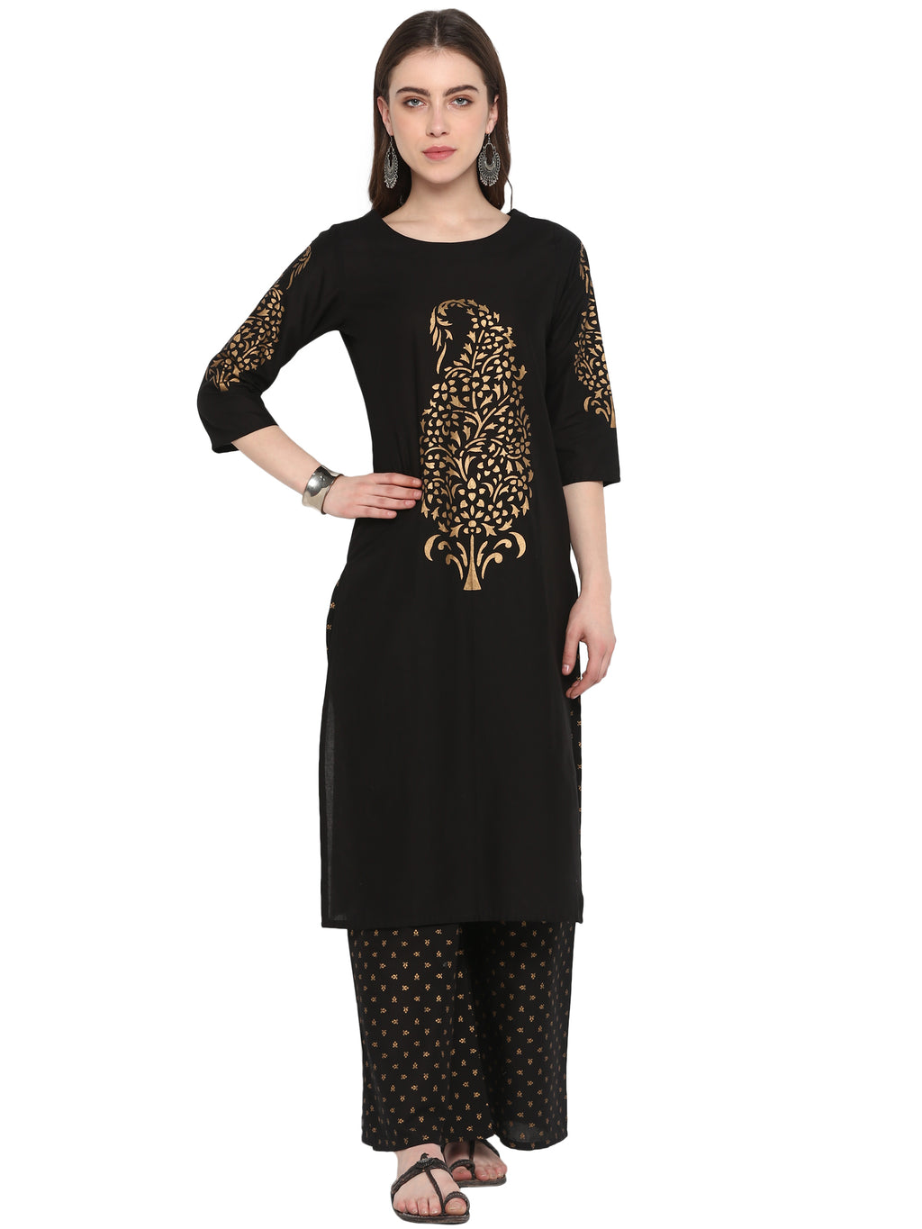 Black Color Cotton Party Wear Kurti With Bottom NYF-6921