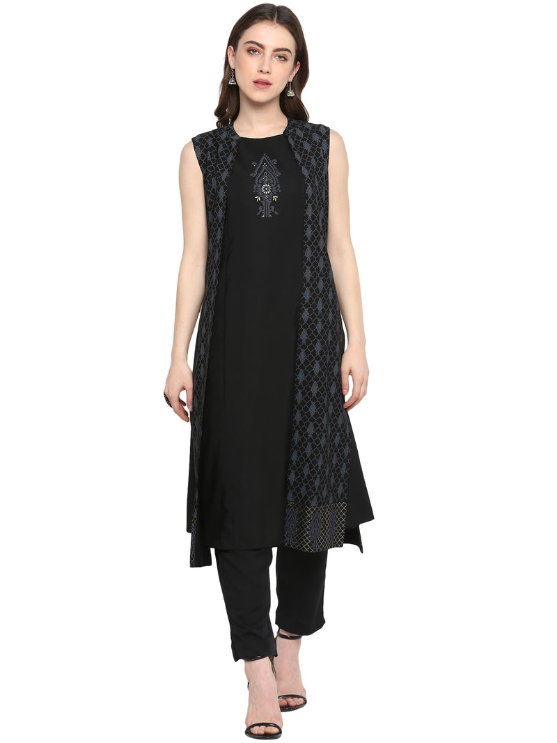 Black Color Crepe Party Wear Kurti With Bottom NYF-6926