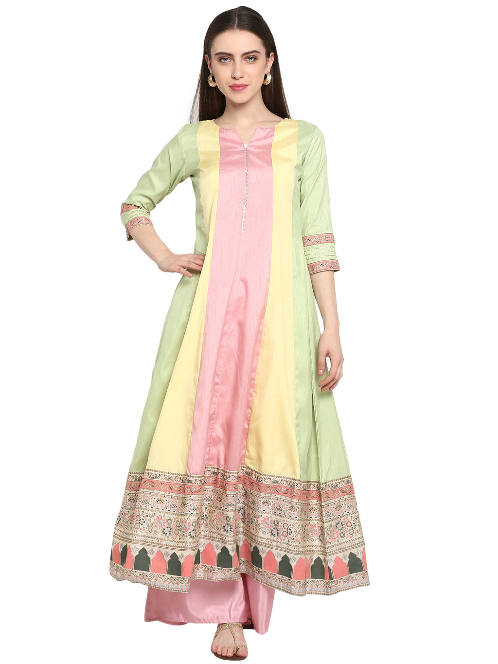 Multi Color Poly Silk Party Wear Kurti With Bottom NYF-6936