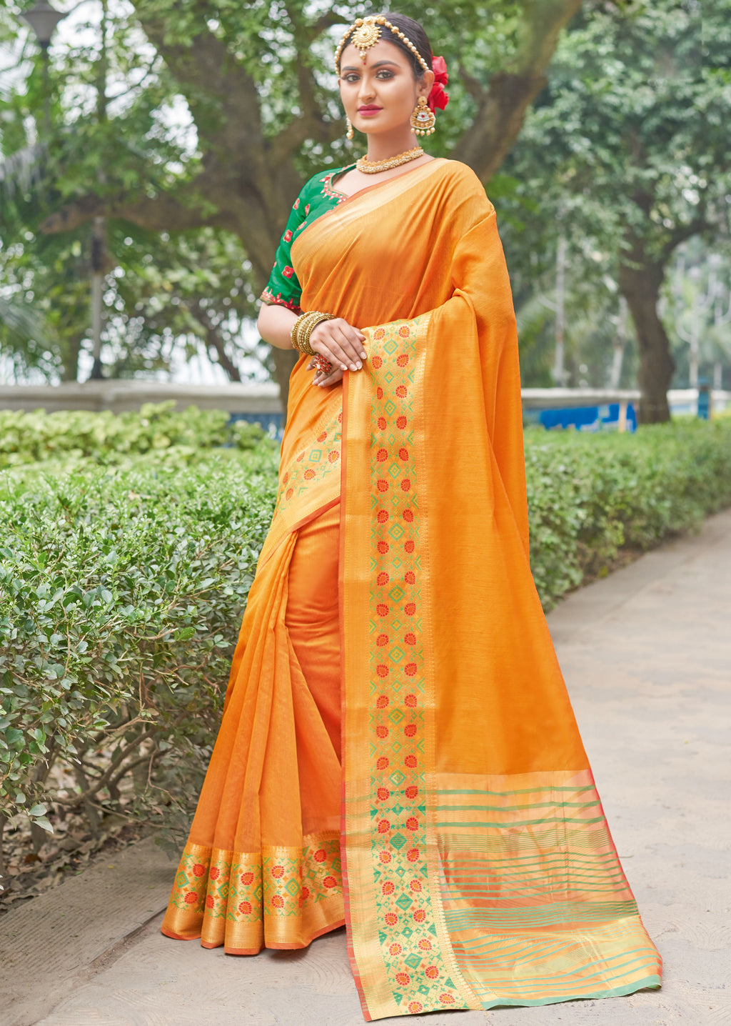 Orange Color Handloom Silk Sarees With Beautiful Border For Religious Function NYF-7324