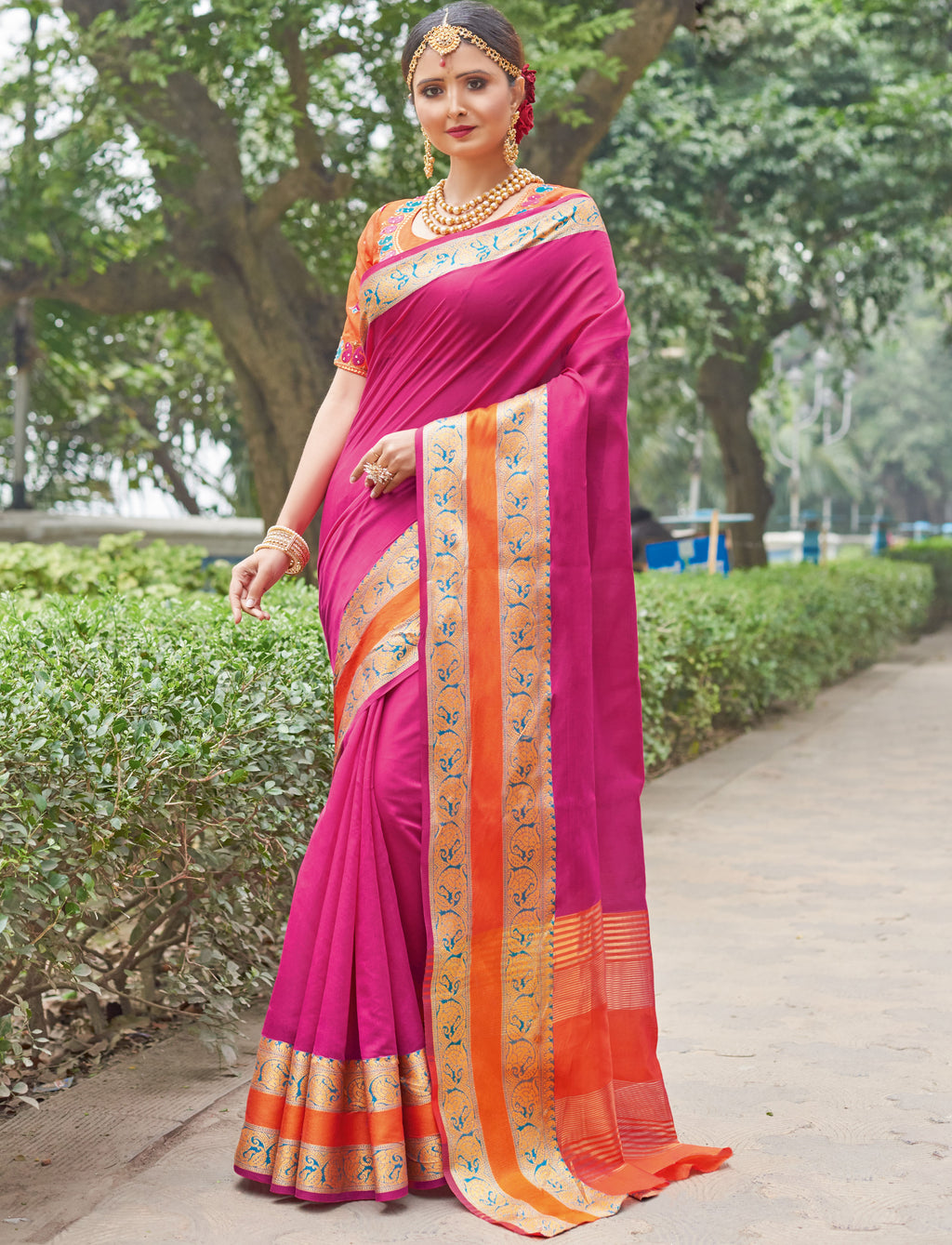 Rani Pink Color Handloom Silk Sarees With Beautiful Border For Religious Function NYF-7325