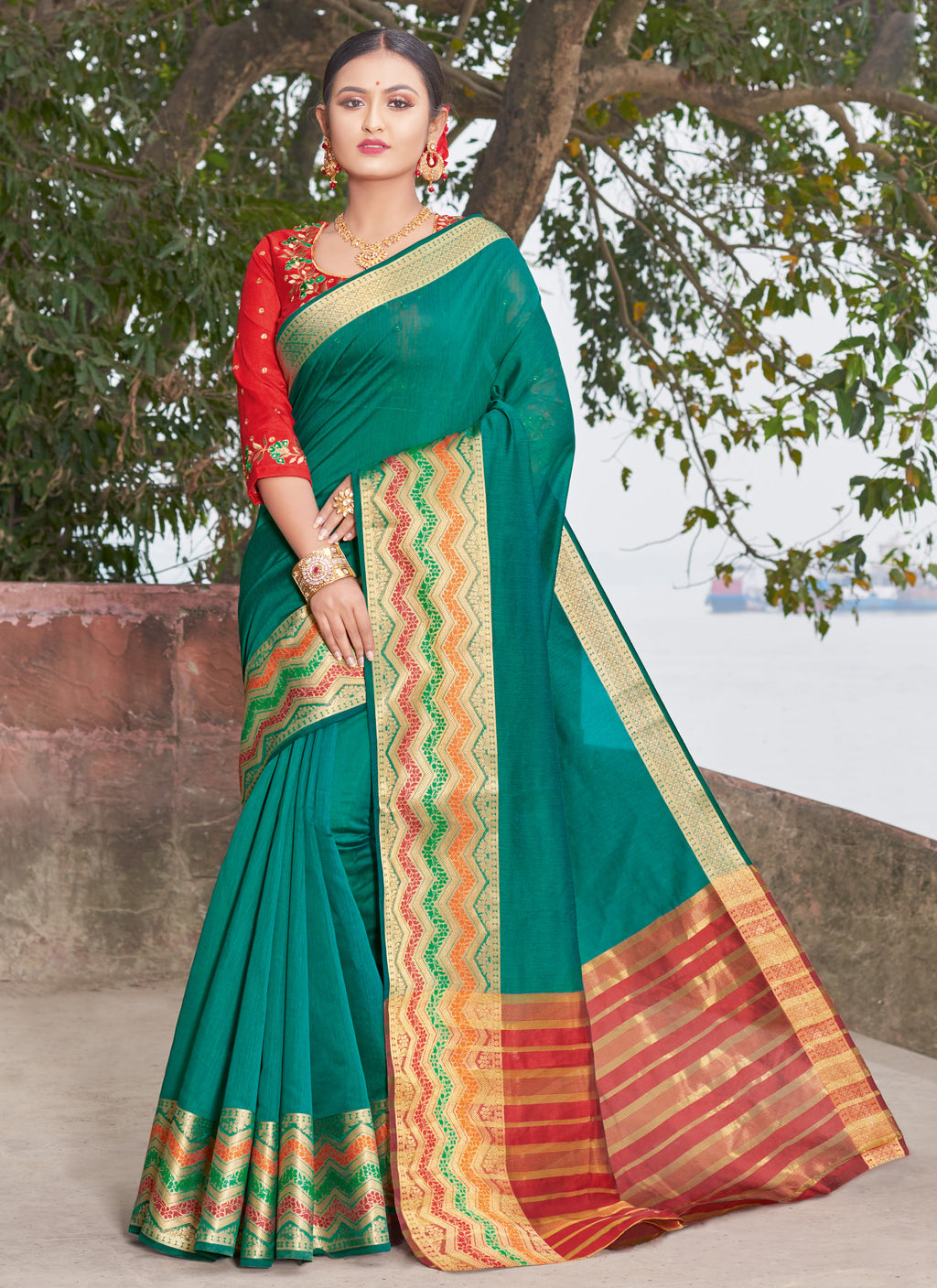 Rama Green Color Handloom Silk Sarees With Beautiful Border For Religious Function NYF-7327