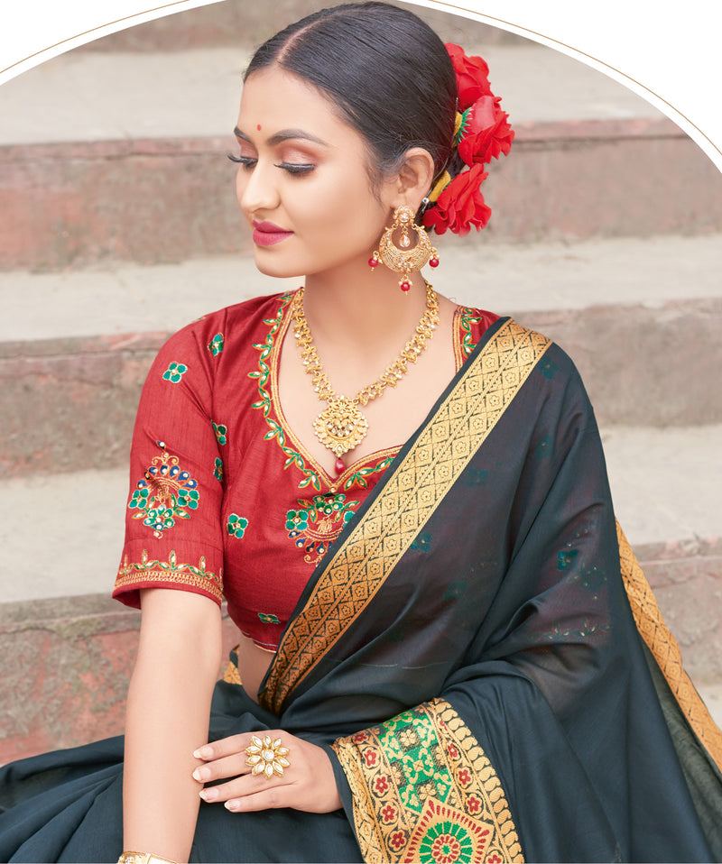 Black Color Handloom Silk Sarees With Beautiful Border For Religious Function NYF-7328