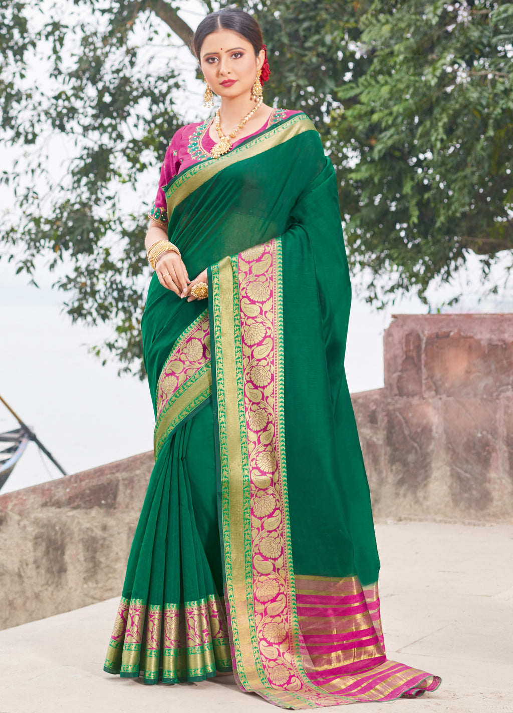 Green Color Handloom Silk Sarees With Beautiful Border For Religious Function NYF-7329