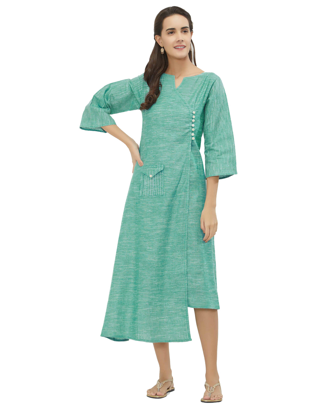 Aqua Blue Color South Cotton Daily Wear Long Kurtis NYF-6945