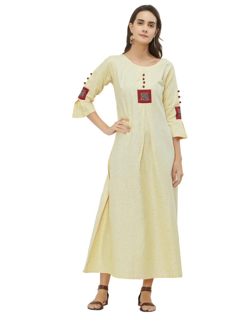 Cream Color Khadi Cotton Daily Wear Long Kurtis NYF-6949