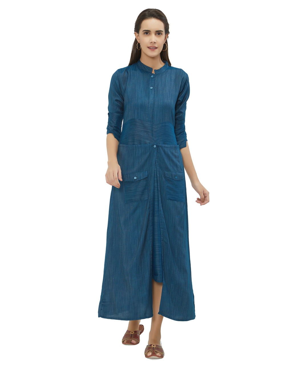 Blue Color Rayon Daily Wear Long Kurtis NYF-6962