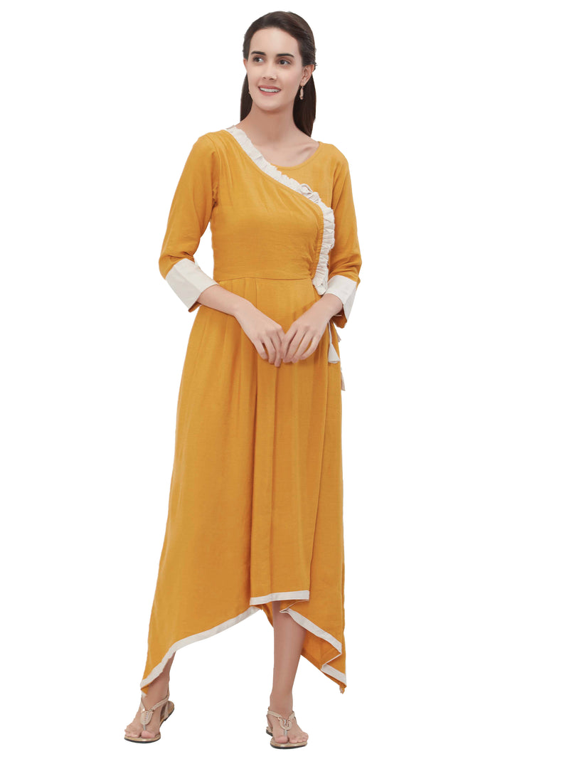 Mustard Yellow Color Rayon Daily Wear Long Kurtis NYF-6974