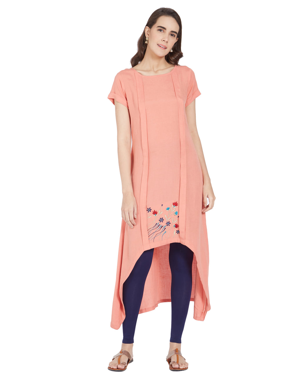 Peach Color Linen Casual Wear Kurtis NYF-6982