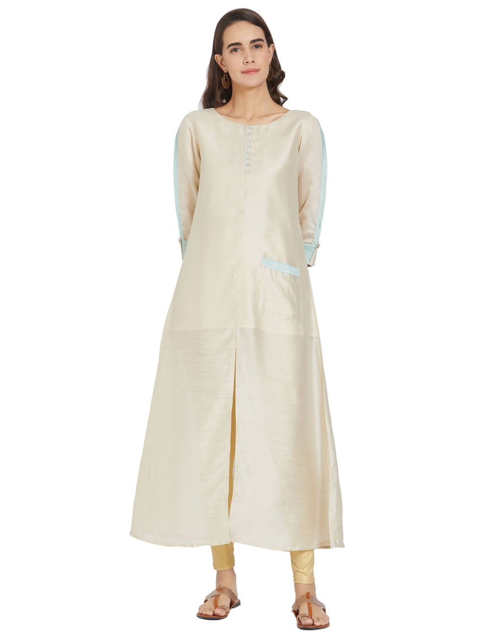 Cream Color Art Silk Casual Wear Kurtis NYF-6986