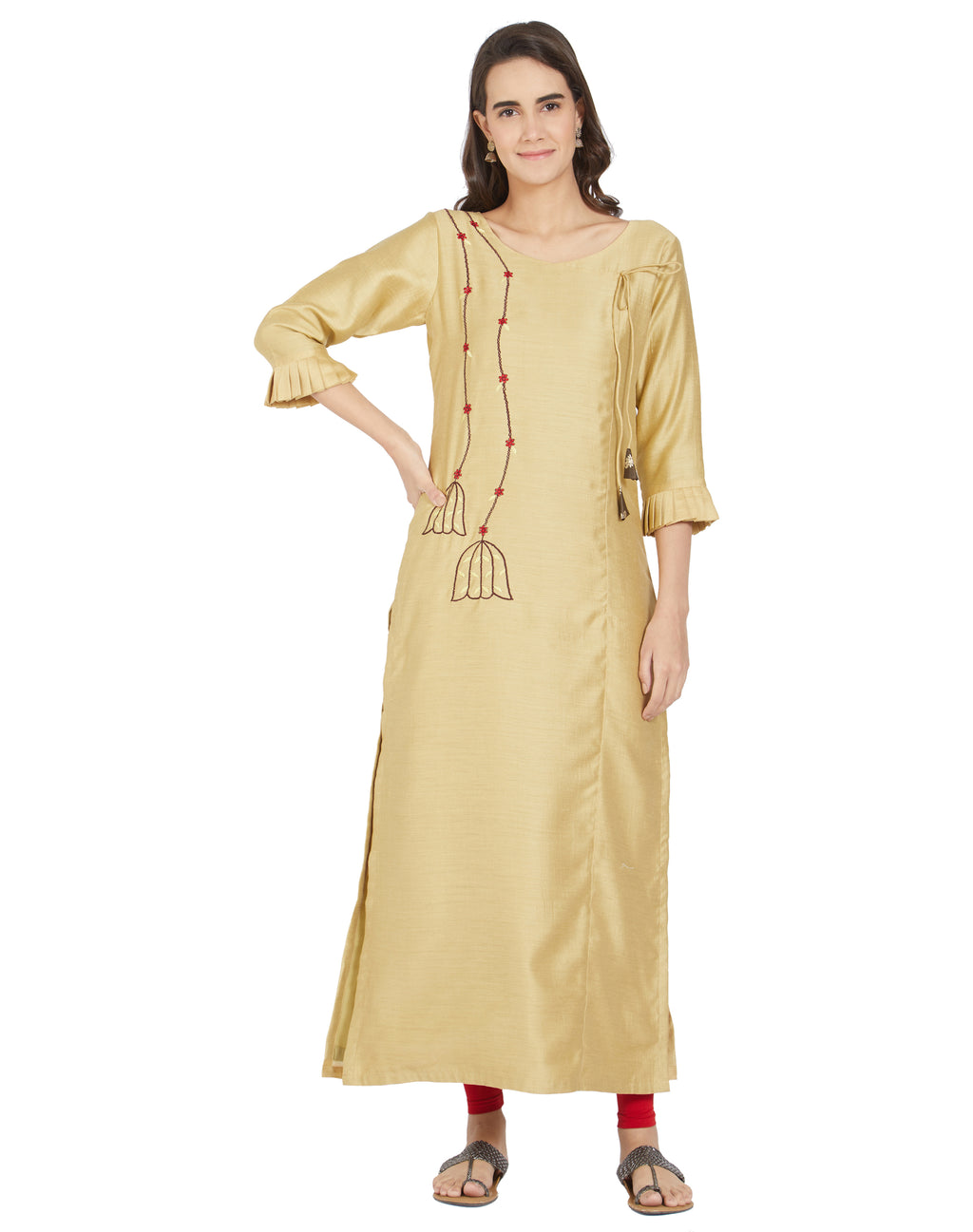 Golden Color Polyester Casual Wear Kurtis NYF-6990