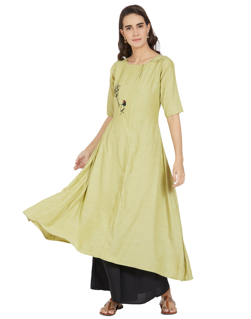 Pastel Green Color Cotton Casual Wear Kurtis With Bottom NYF-6994
