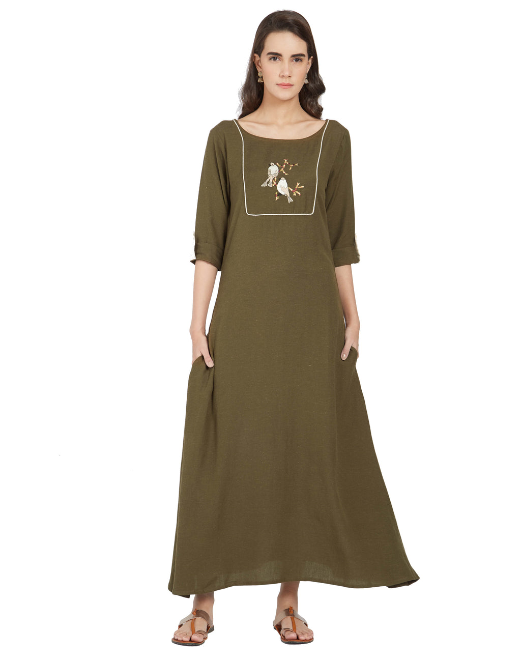Olive Green Color Linen Casual Wear Kurtis NYF-7002