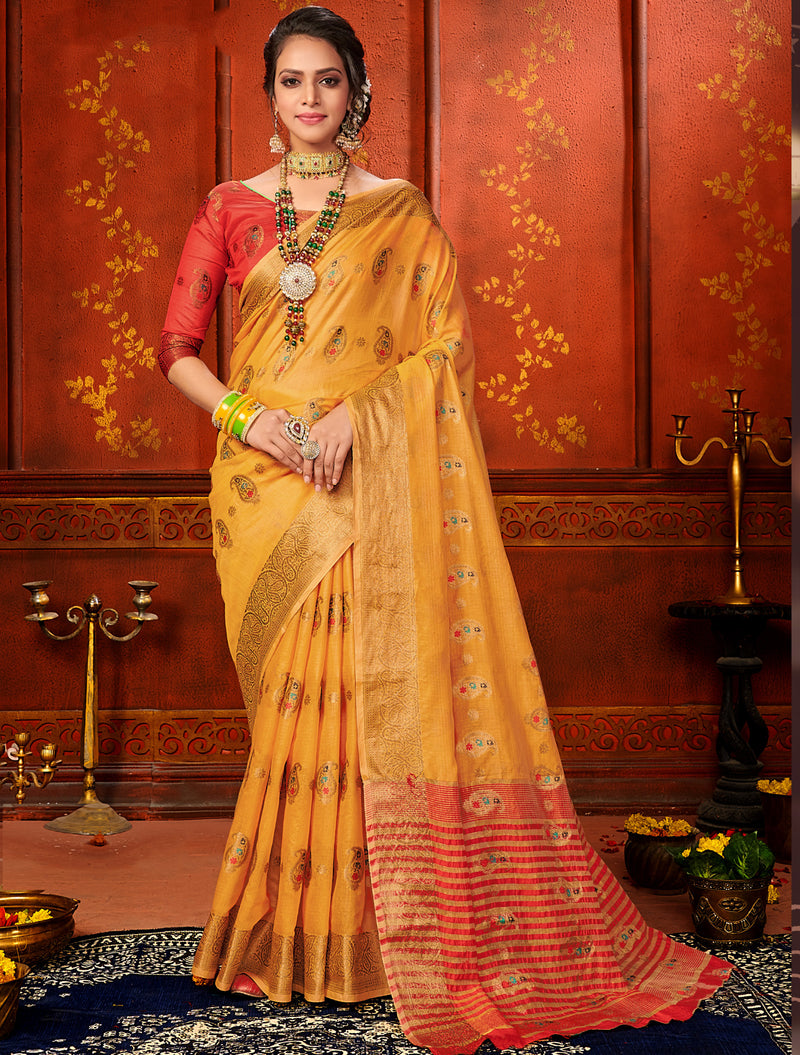 Yellow Color Art Silk Aesthetic Sarees For Newly Wedded NYF-7316