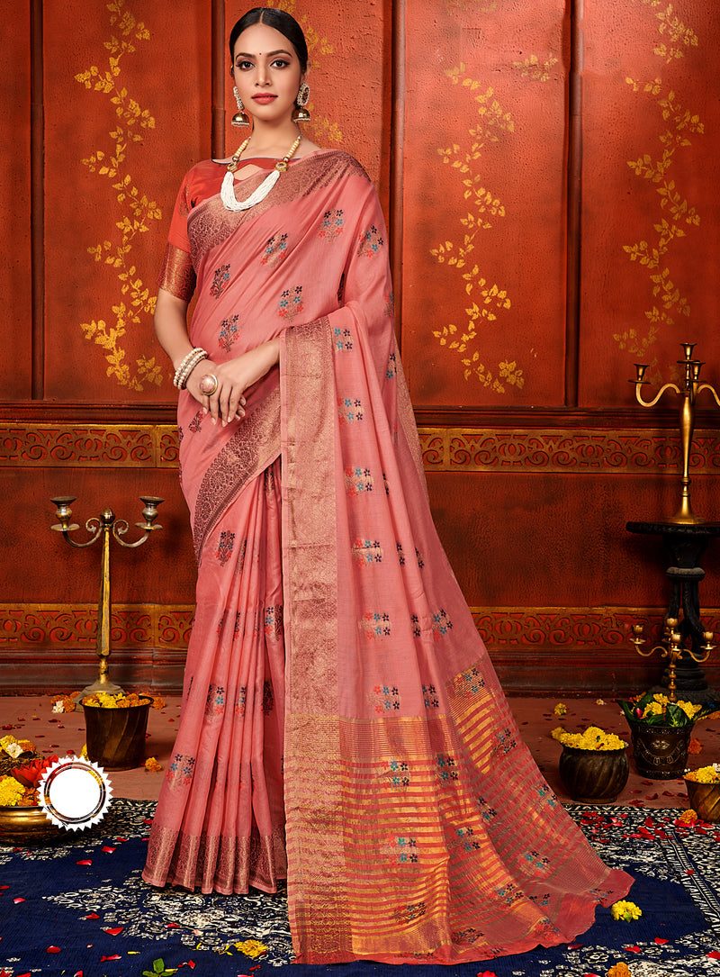 Pink Color Art Silk Aesthetic Sarees For Newly Wedded NYF-7317