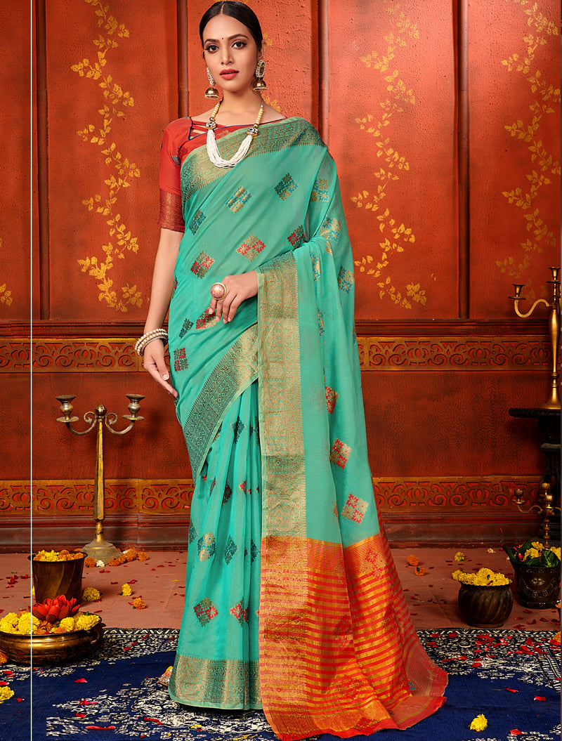 Sea Green Color Art Silk Aesthetic Sarees For Newly Wedded NYF-7318