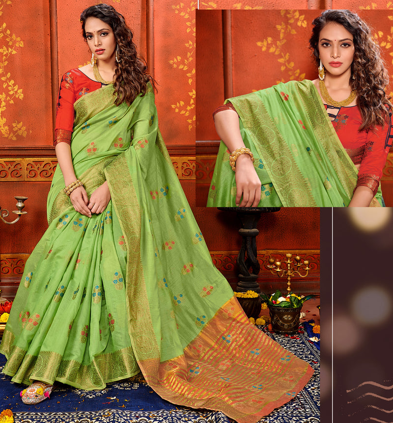 Green Color Art Silk Aesthetic Sarees For Newly Wedded NYF-7319