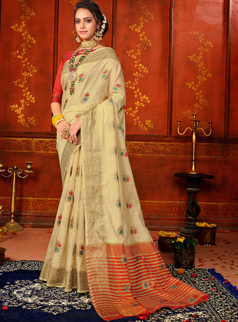 Beige Color Art Silk Aesthetic Sarees For Newly Wedded NYF-7320