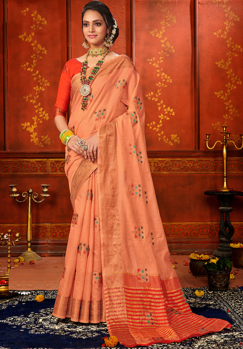 Peach Color Art Silk Aesthetic Sarees For Newly Wedded NYF-7321