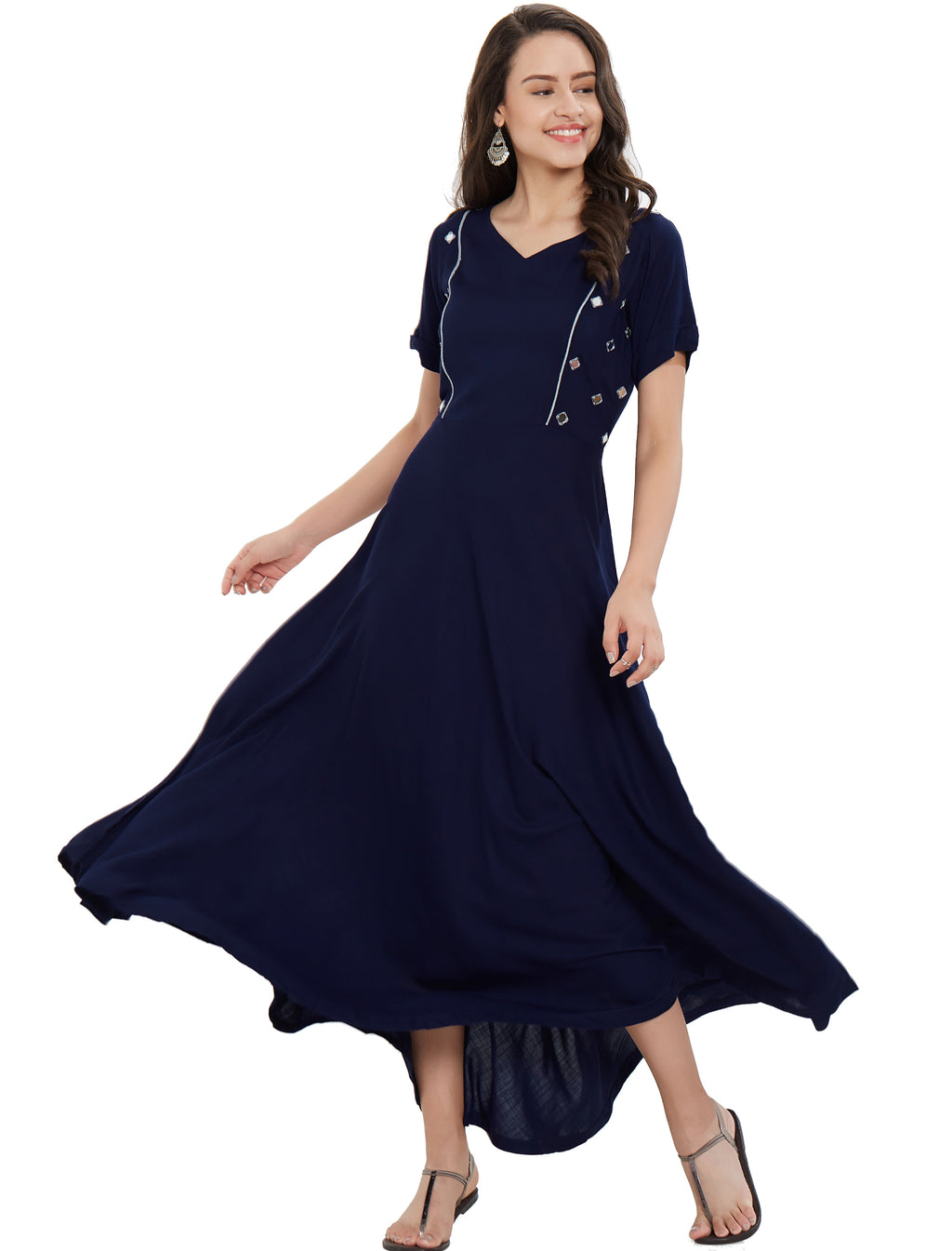 Navy Blue Color Rayon Long Casual Wear Kurtis NYF-7012