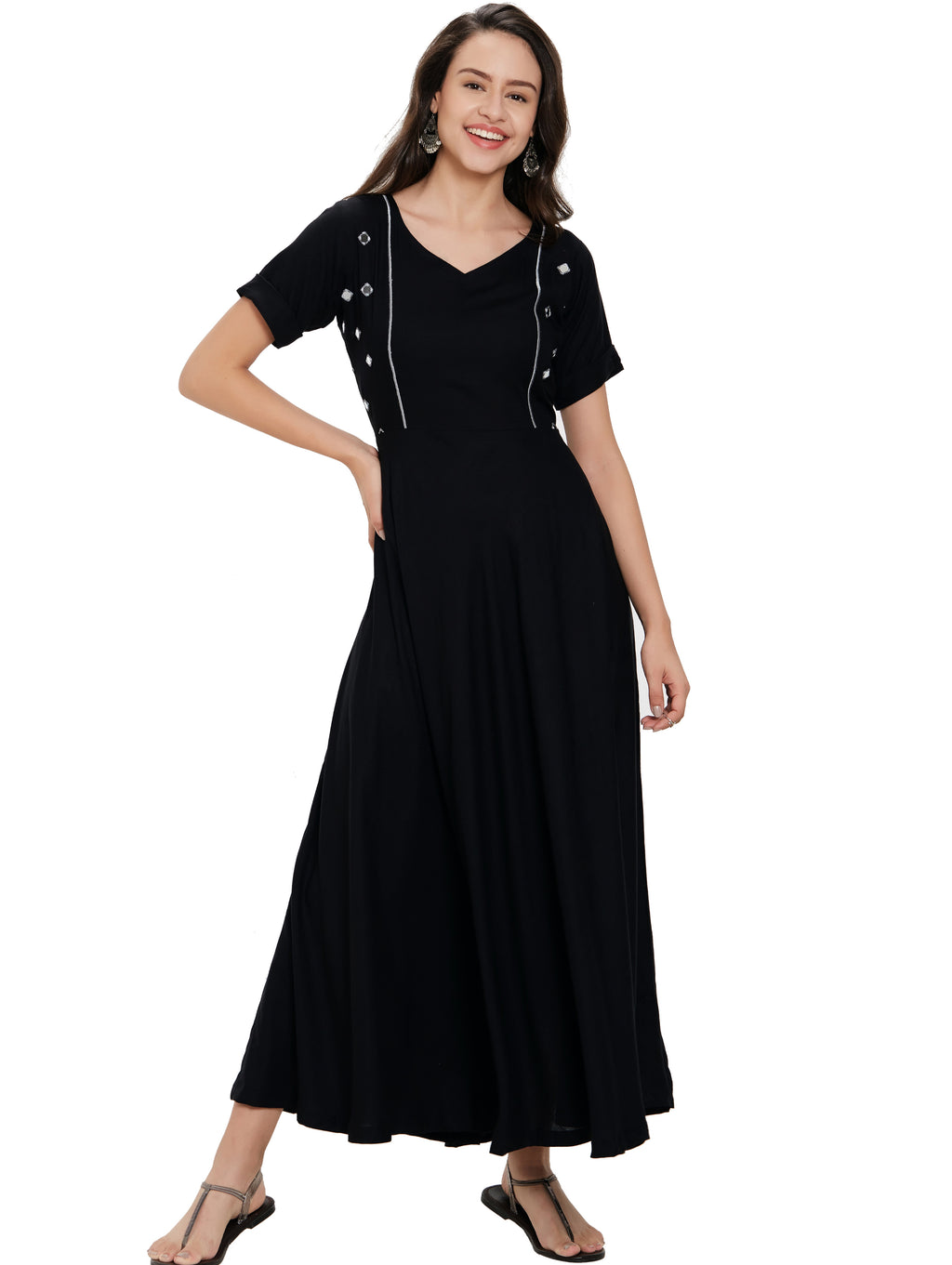 Black Color Rayon Long Casual Wear Kurtis NYF-7016