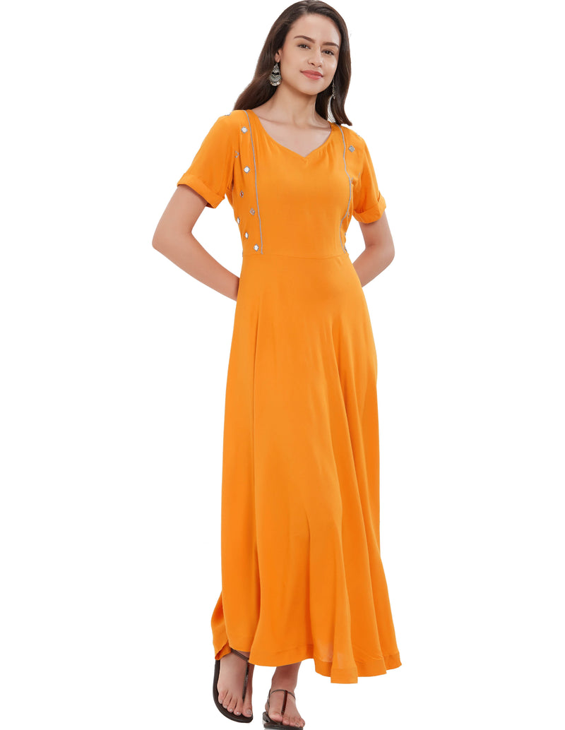 Mustard Yellow Color Rayon Long Casual Wear Kurtis NYF-7020