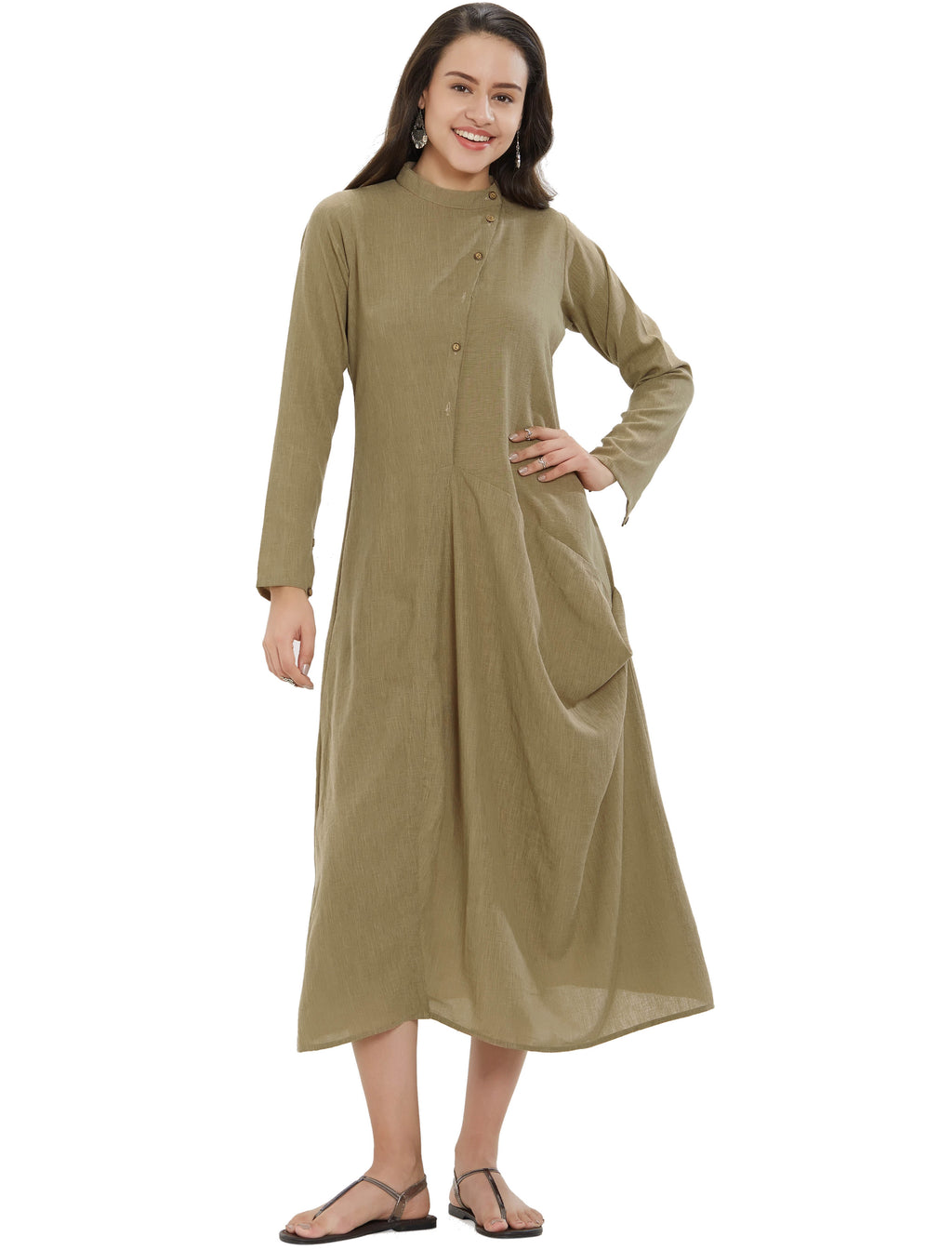 Olive Green Color Slub Rayon Long Casual Wear Kurtis NYF-7024