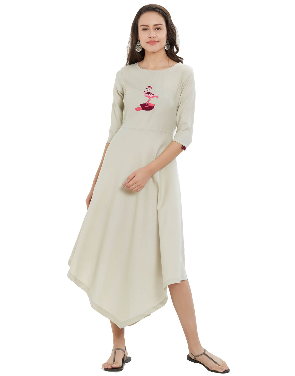 Off White Color Slub Rayon Long Casual Wear Kurtis NYF-7028