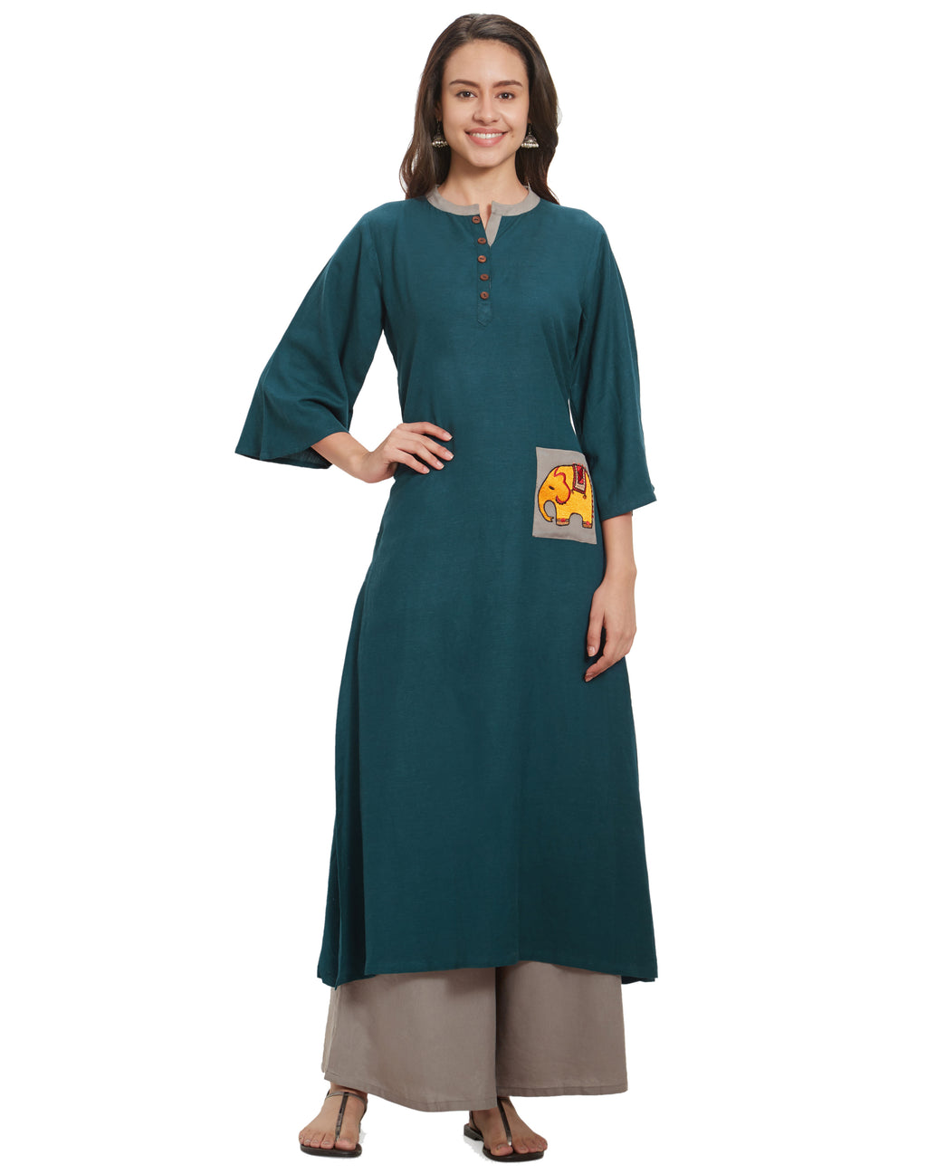 Blue  Color Rayon Long Casual Wear Kurtis NYF-7032