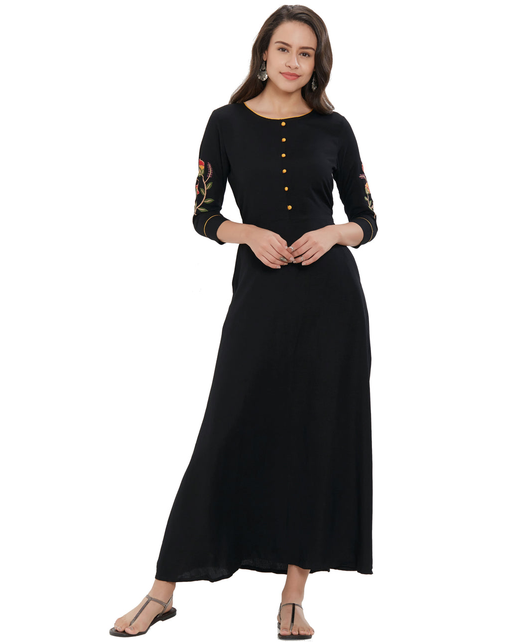 Black Color Rayon Long Casual Wear Kurtis NYF-7040