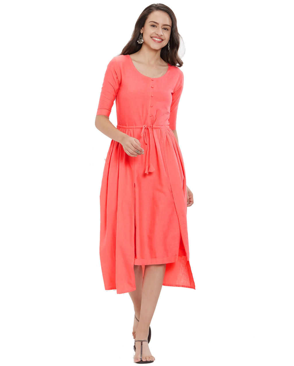 Dark Peach Color Slub Cotton Long Casual Wear Kurtis NYF-7044