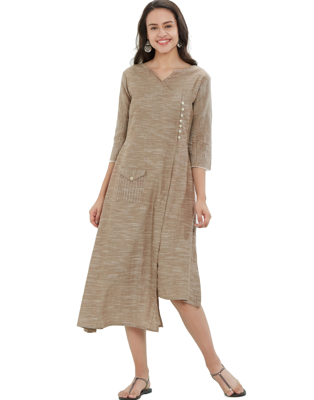 Beige Color South Cotton Long Casual Wear Kurtis NYF-7052